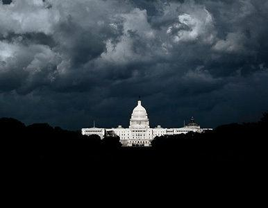 Storm clouds over the Capitol in a bleak-looking Washington DC