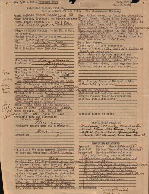 Augusta Lentz Fromke Obit Files