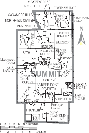 A map of Summit County, Ohio with the municipalities and townships labeled.