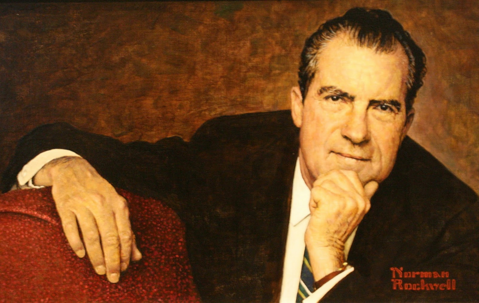 Norman Rockwell paints Nixon
