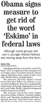 Obama signs into law ban of word Eskimo and others