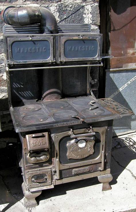 A photograph of a beautiful, large Majestic brand woodstove used for cooking.