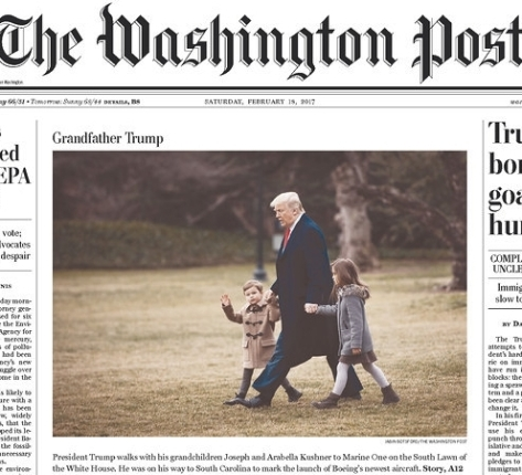 President Trump dons the hat for one of his most important roles, as Grandpa, escorting two of his grandkids across the White House lawn. The photograph graced the front page of The Washington Post. A few other newspapers did the same.