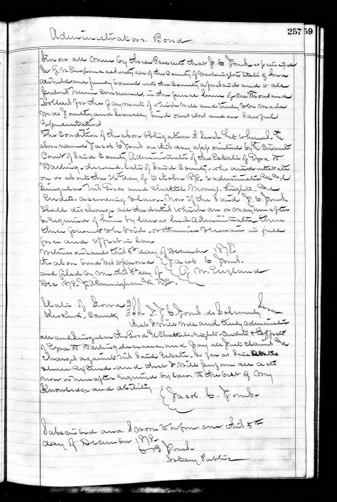 Records of Ezra Darwin Darling's probate and adminstration of his estate after his premature, accidental death in 1878.