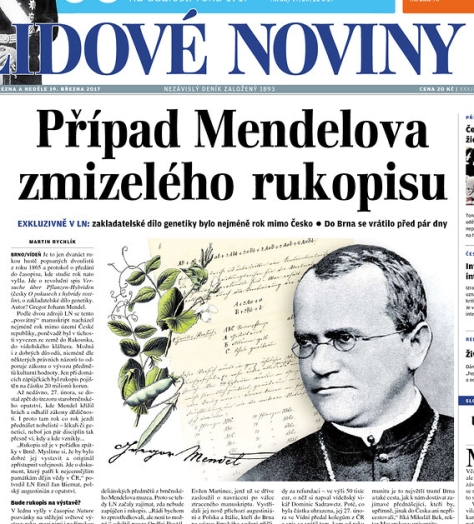 A story about Gregor Mendel was featured on the front page of a Czech newspaper. The headline translates as The Case of the Missing Mendel Manuscript.