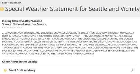 Snow yet again!? The National Weather Service has issued a Special Weather Statement for Seattle and vicinity warning of possible snow throughout the first weekend of March.
