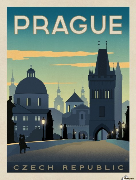 900_Prague vintage travel poster