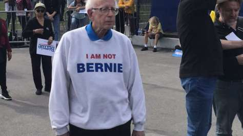 Man who resembles Bernie Sanders wears a