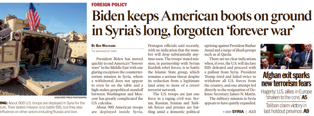 Newspaper clipping with the headline: Biden keeps American boots on ground in Syria's long, forgotten 'forever war'.